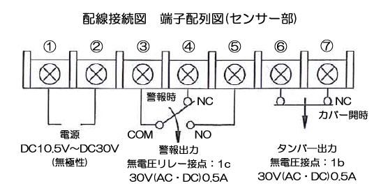 赤外線センサー PR-11BE 配線接続図 端子配列図